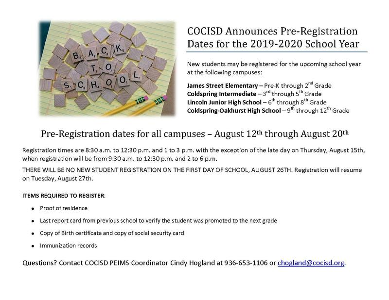 COCISD Announces New Student Pre-Registration Dates for the 2019-20 School Year Thumbnail Image