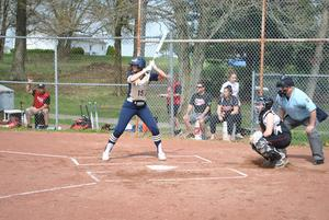Softball player at the plate