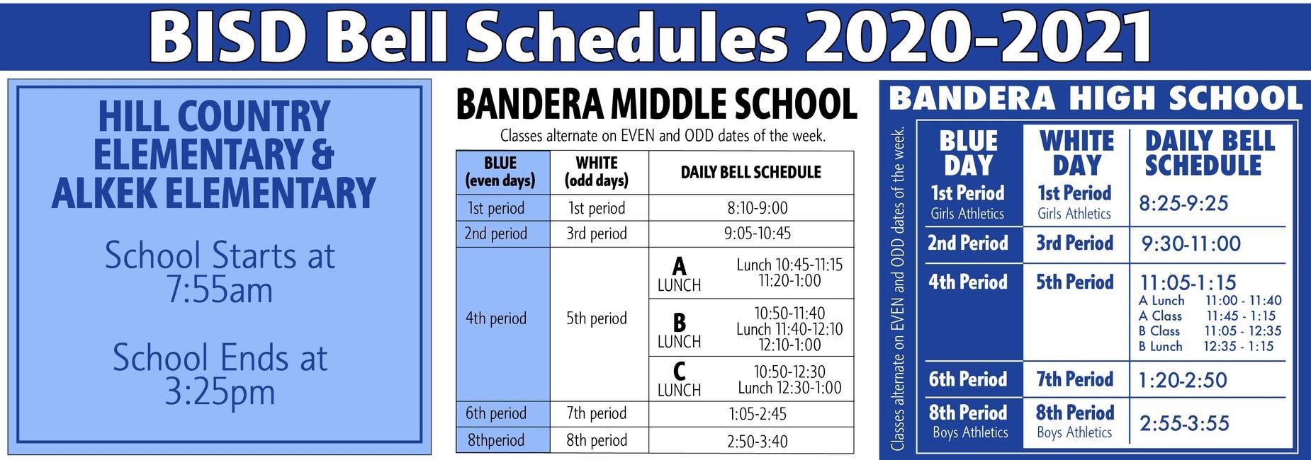 BISD Bell Schedule 2020-2021