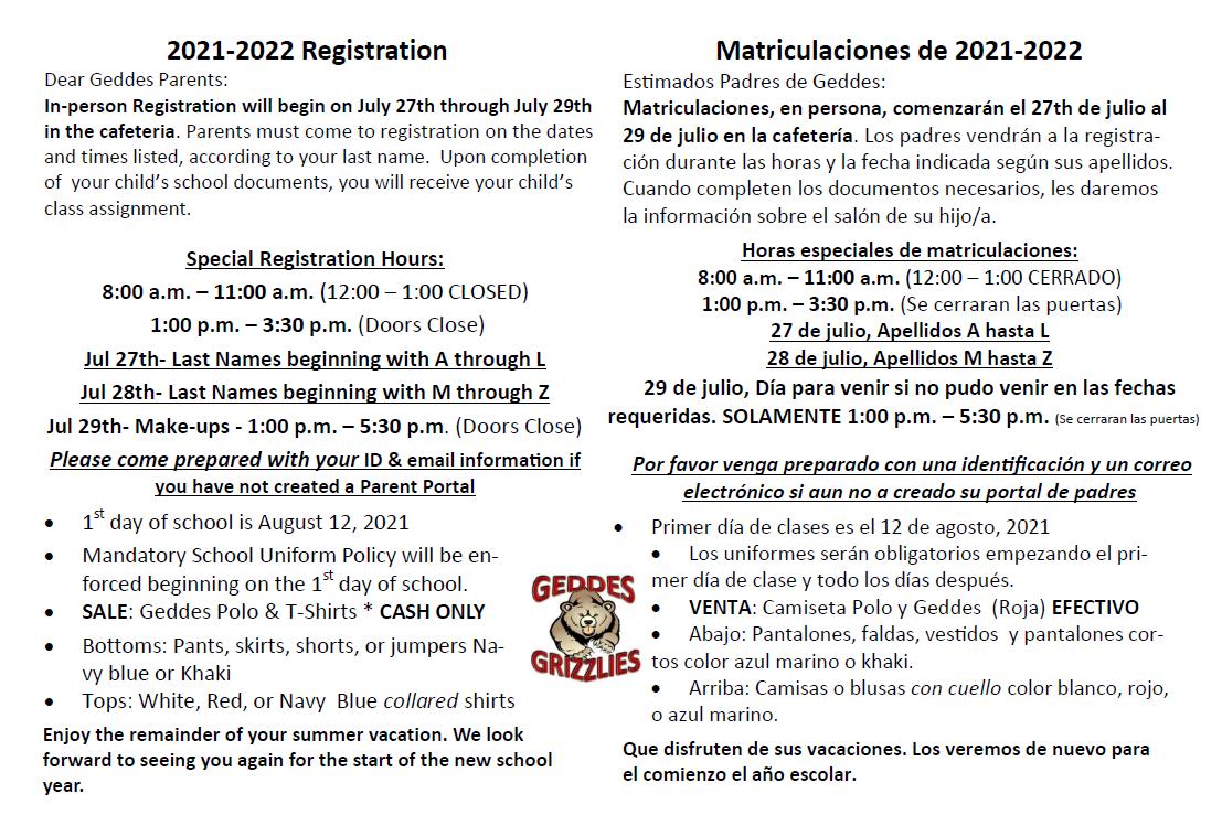 Geddes registration info