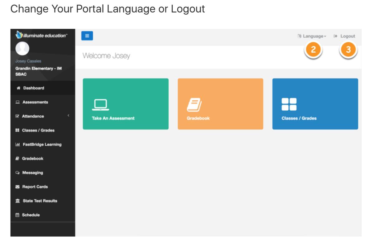 Student portal logout screen