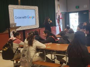 Principal Diaz-Sepulveda speaks to students.