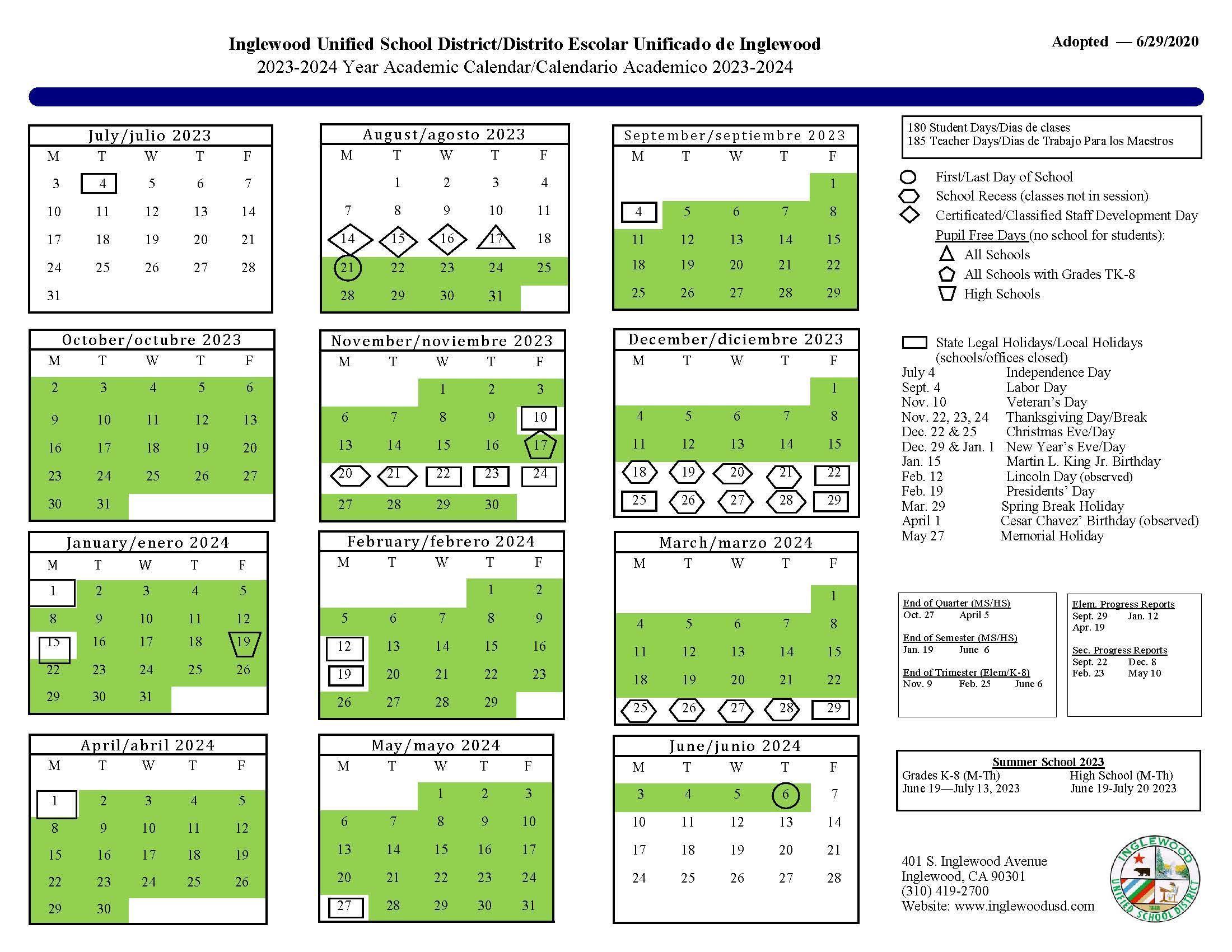 Iusd Calendar 2022.Calendar About Us Inglewood Unified School District