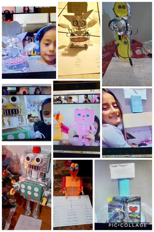students with robot designs collage