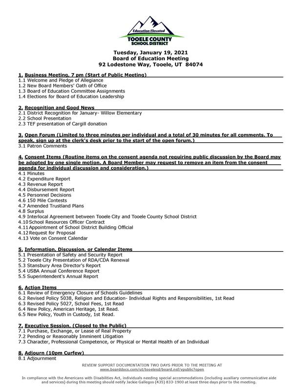 Board of Education meeting agenda -  Jan. 19, 2021