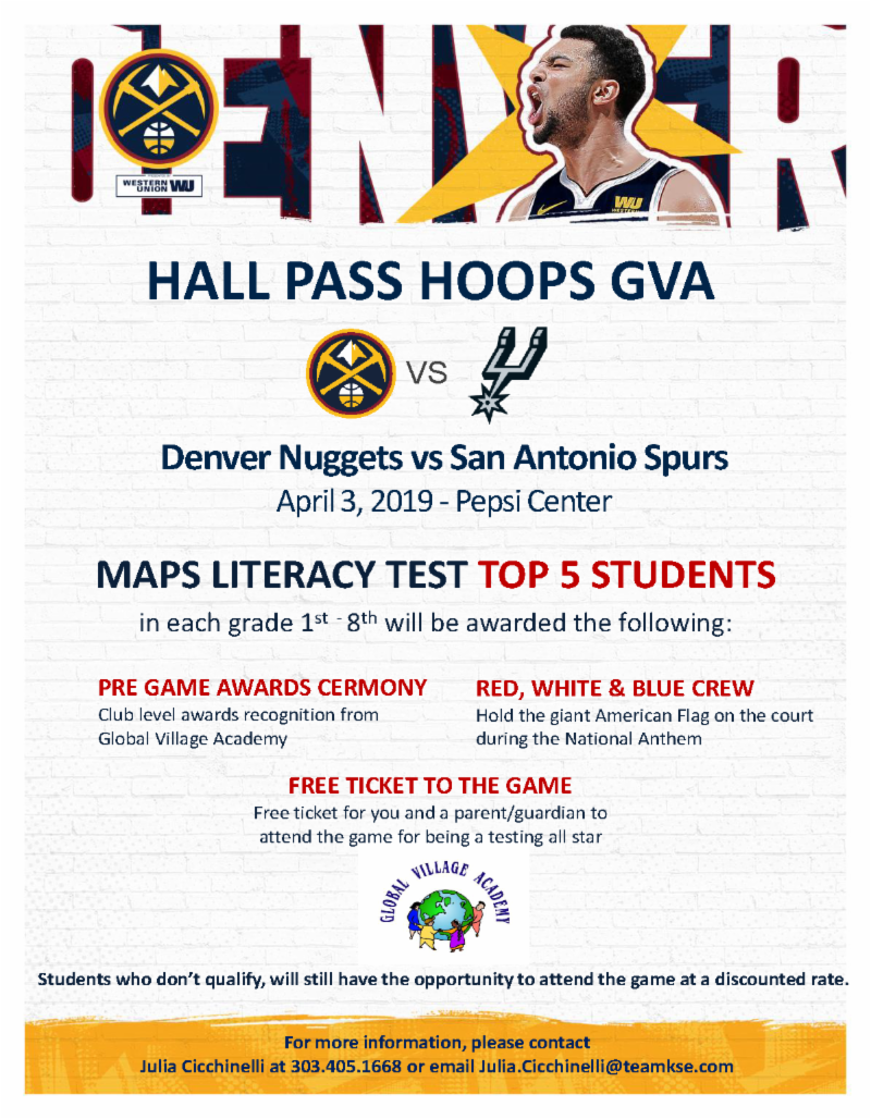 Denver Nuggets flyer for April 3 game
