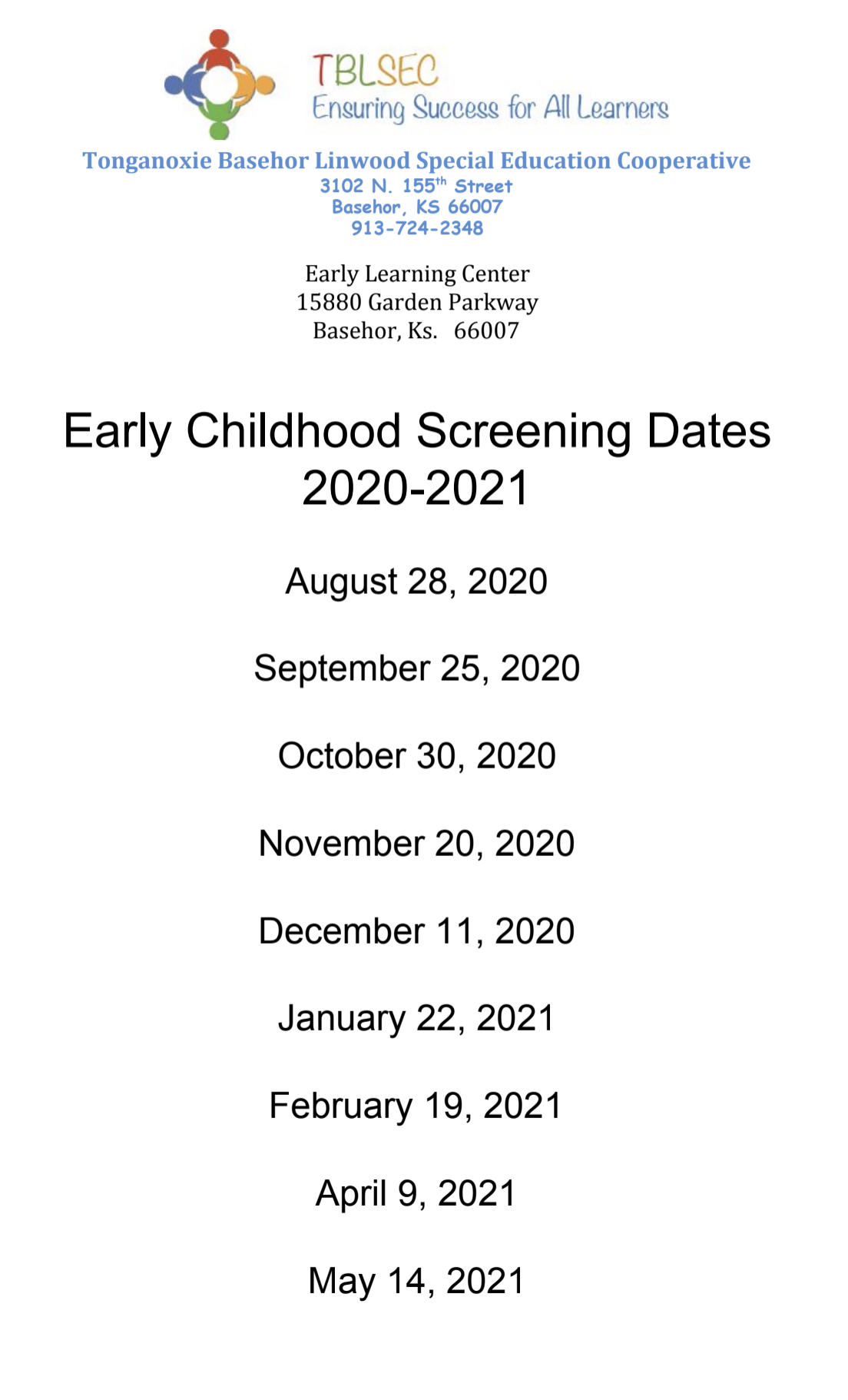 Screening Dates