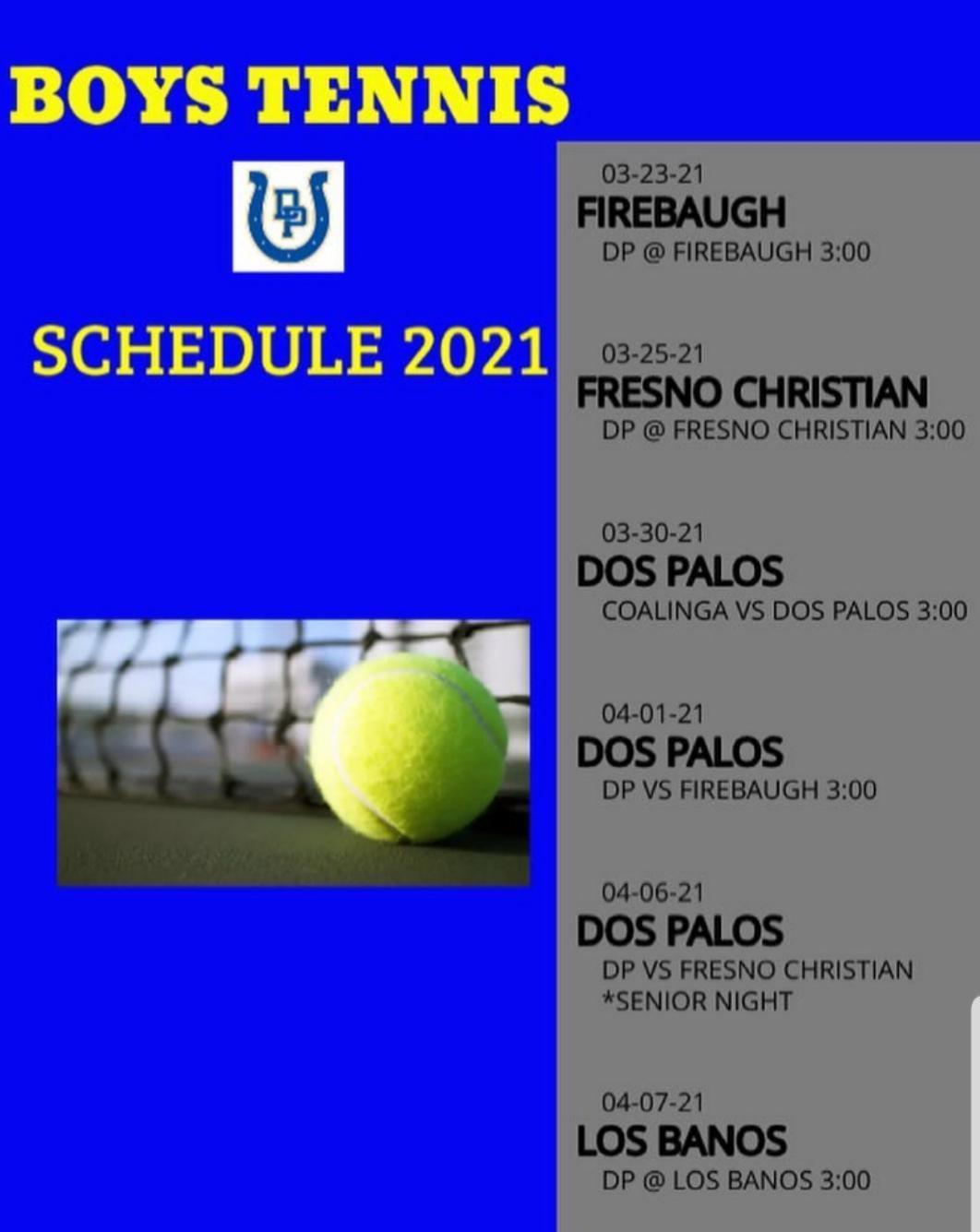 2021 Boys Tennis Schedule