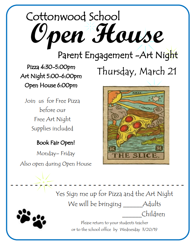 Paint Night and Open House at Cottonwood, March 21st, starting at 4:30 pm