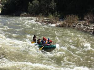 Sixth Grade students rafting down the Feather River.
