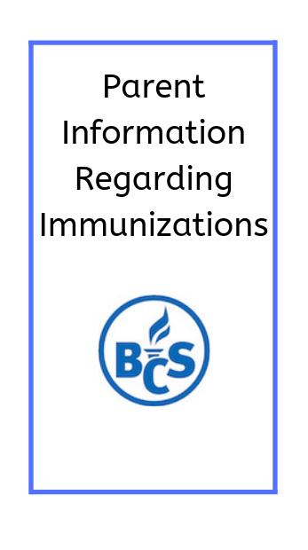 Poster image parent information regarding immunizations with the district logo