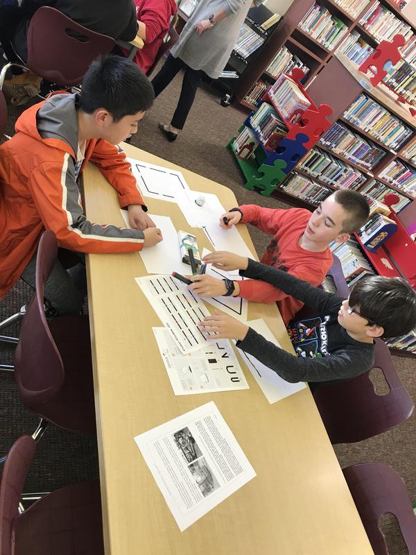 Students in Robotic Club in the Library