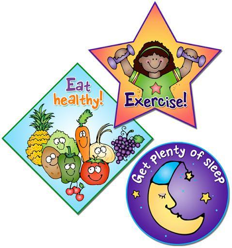 Student Exercising, healthy foods & quarter moon