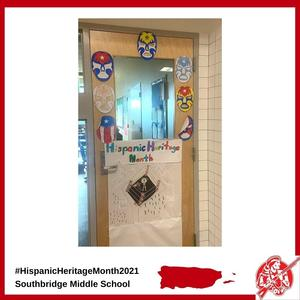 A doorway to a classroom at Southbridge Middle School decorated for Hispanic Heritage Month