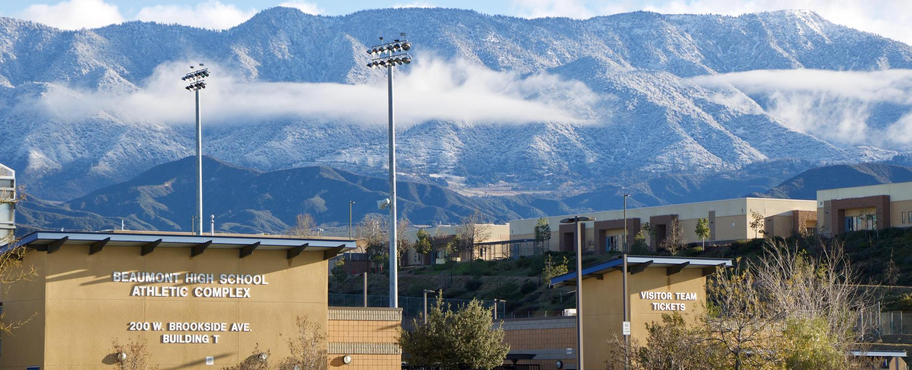 High School Athletic complex with mountains in background