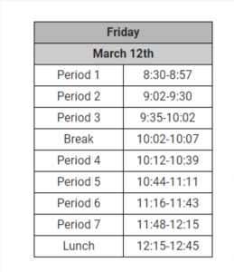 March 12th Min Day Schedule