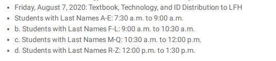 LFH textbook schedule