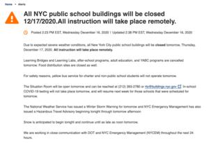 Announcement of School closure on DOE Site English