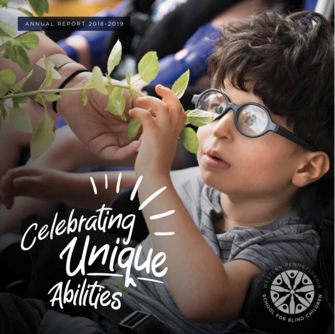 Cover of Annual Report, a student in the primary program participating in a horticulture lesson.