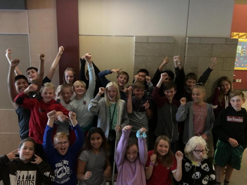 Mr. Smalls' class celebrating their fund run success! Thumbnail Image