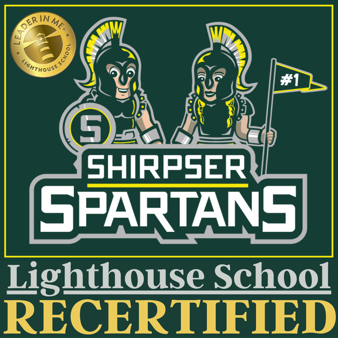 Graphic that shows Shirpser School Logo and states: Shirpser Spartans Lighthouse School Recertified