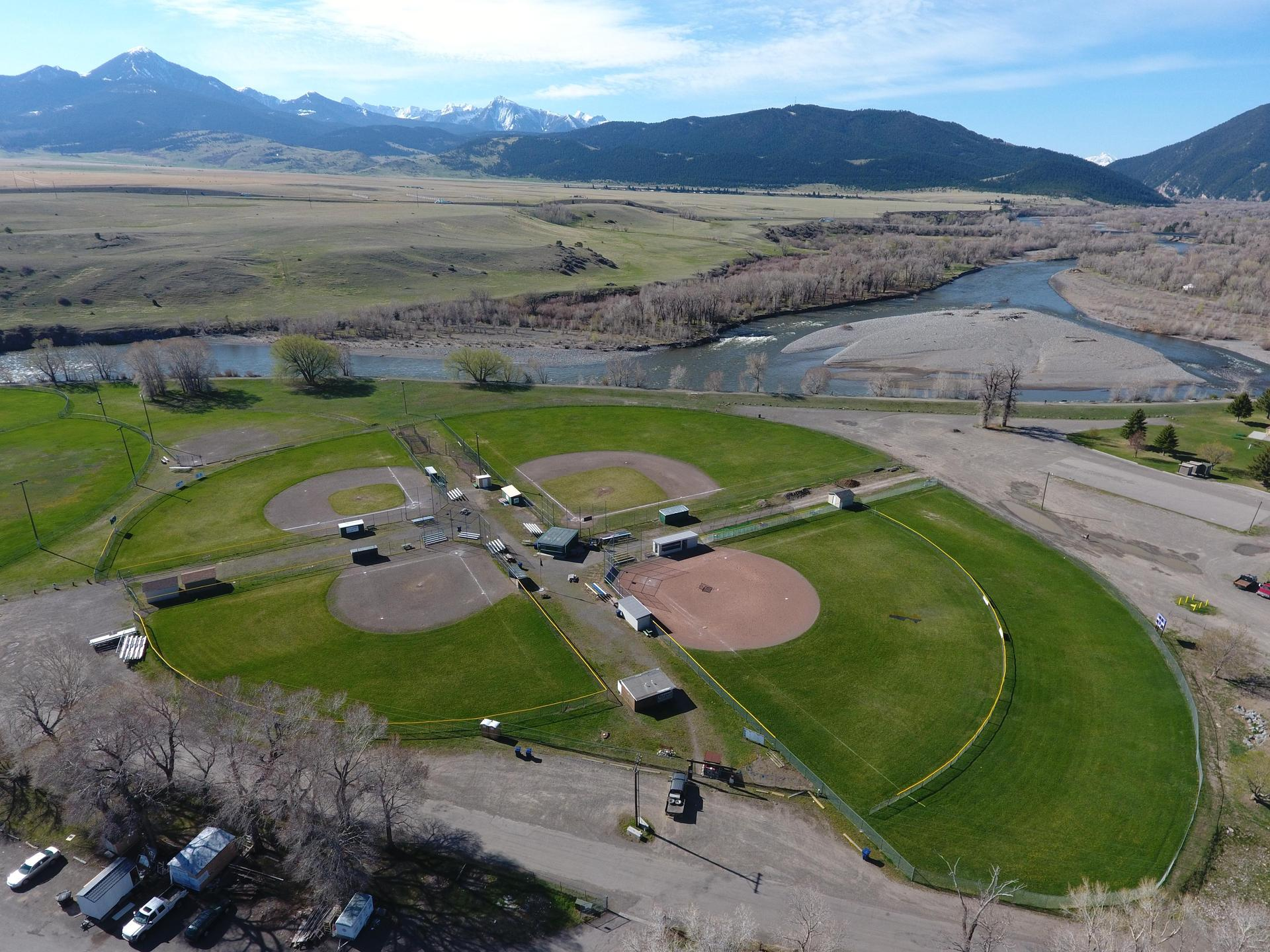 Arial of the Softball Fields with Mountains in Background