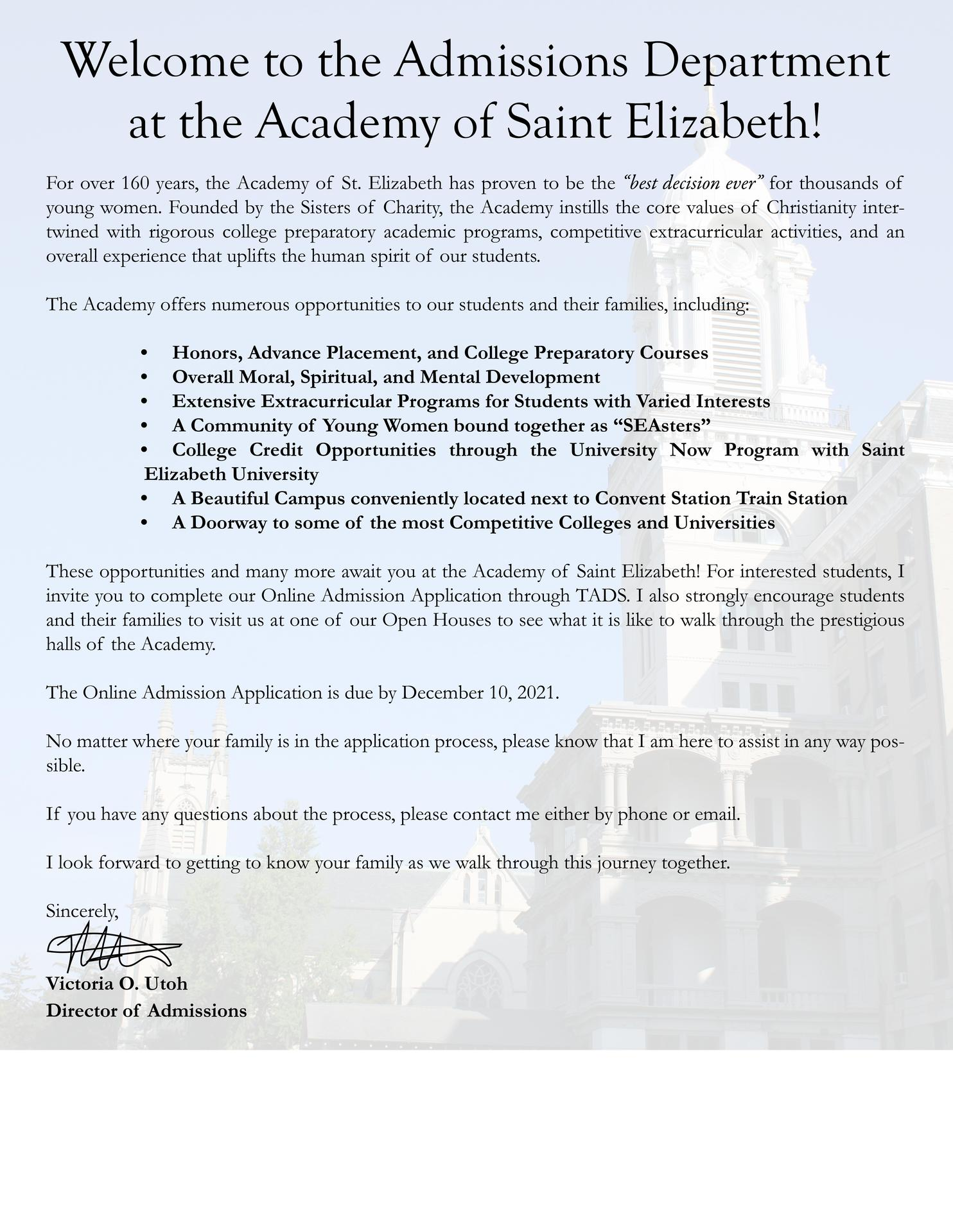 Welcome to Admissions Letter