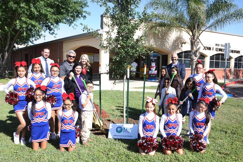 Edinburg CISD students and staff host special tree dedication ceremony with members from TXU Energy and the Texas Trees Foundation at Kennedy Elementary School in Edinburg.