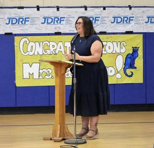 Jefferson fourth grade teacher Anna Carissimo is honored at the May 7 Board of Education meeting as the recipient of the 2019 Charles Philhower Fellowship Award which recognizes outstanding elementary school teachers.