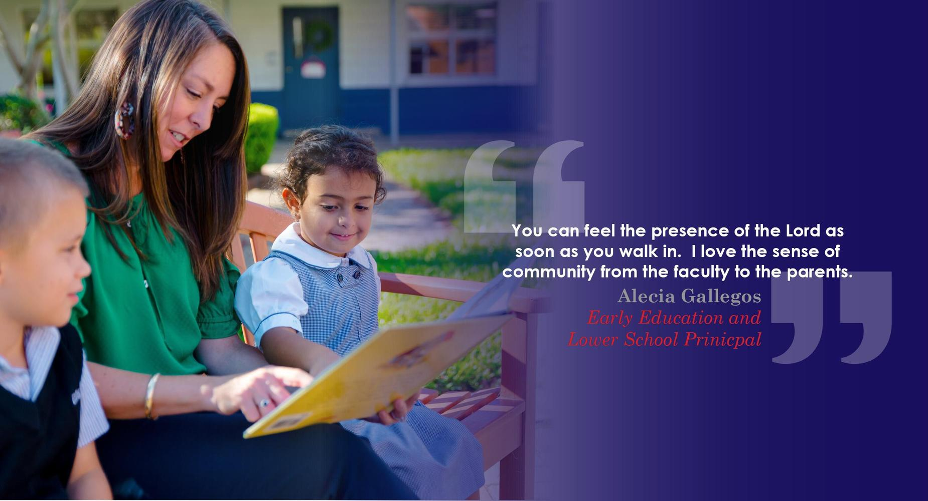 teacher reading to students with quote