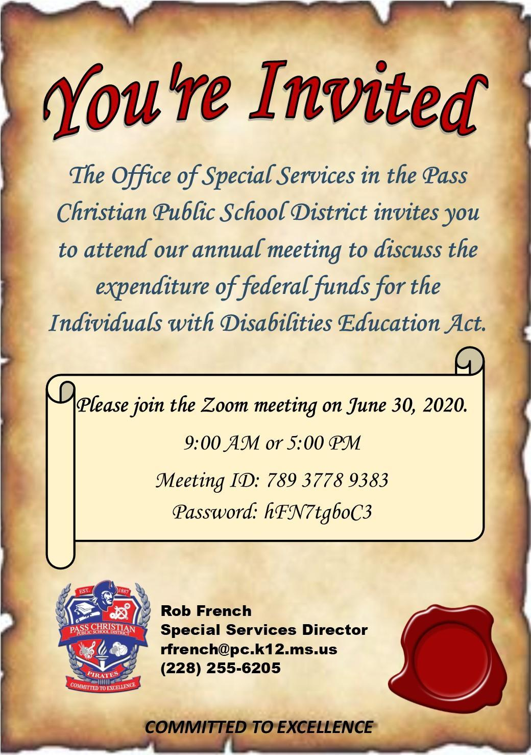 Invitation to the annual budget meeting for the expenditure of federal special education funds.