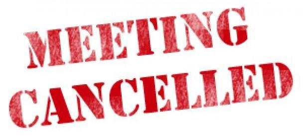 Meeting Canceled spelled out in Red Letters