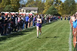 photo of Haley Hamilton approaching the finish line at the WPIAL championships