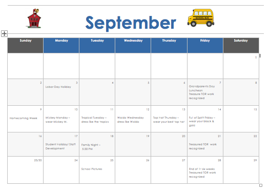 September Calendar Thumbnail Image