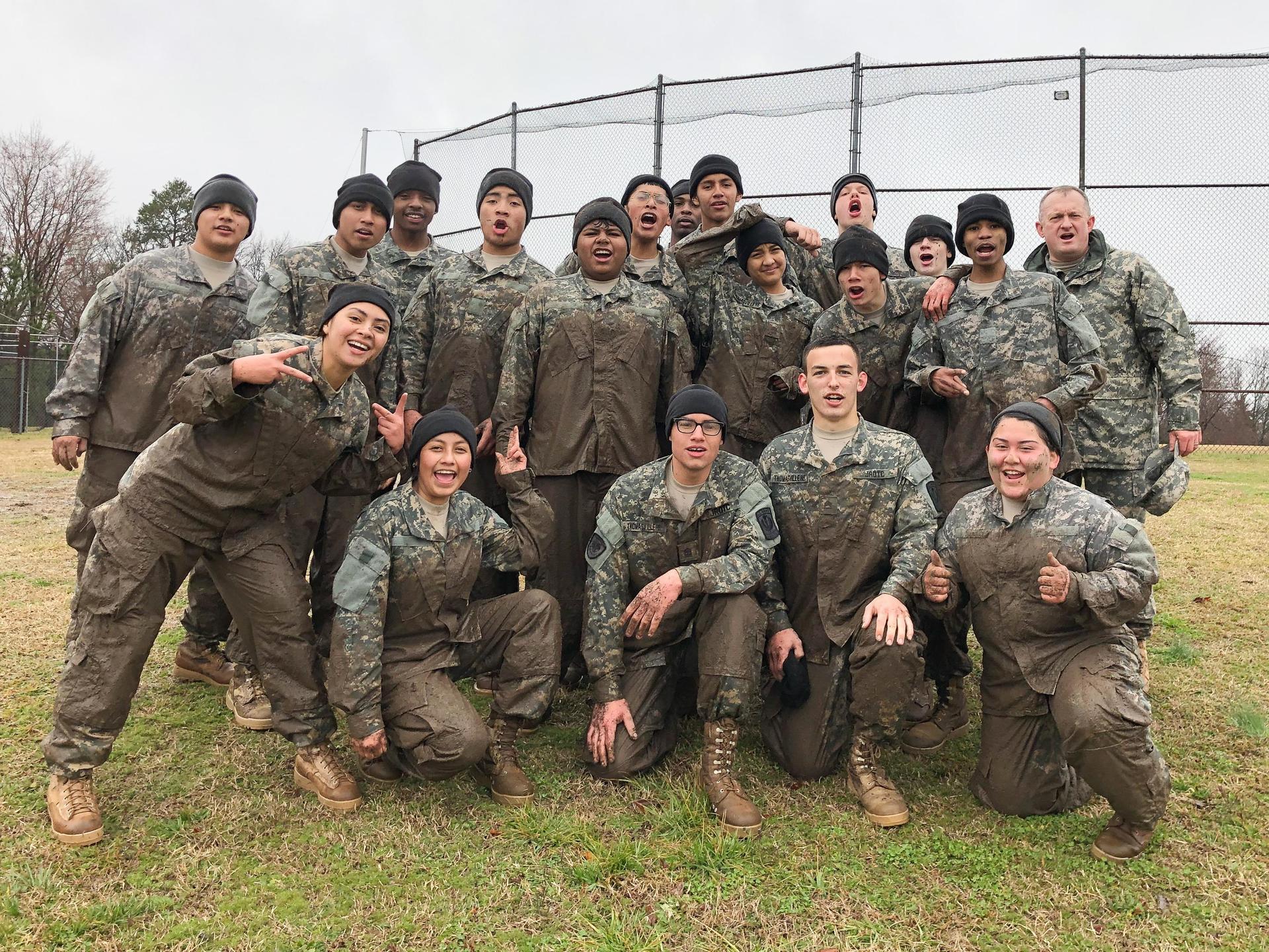Bulldog JROTC Raider Team Group Mud