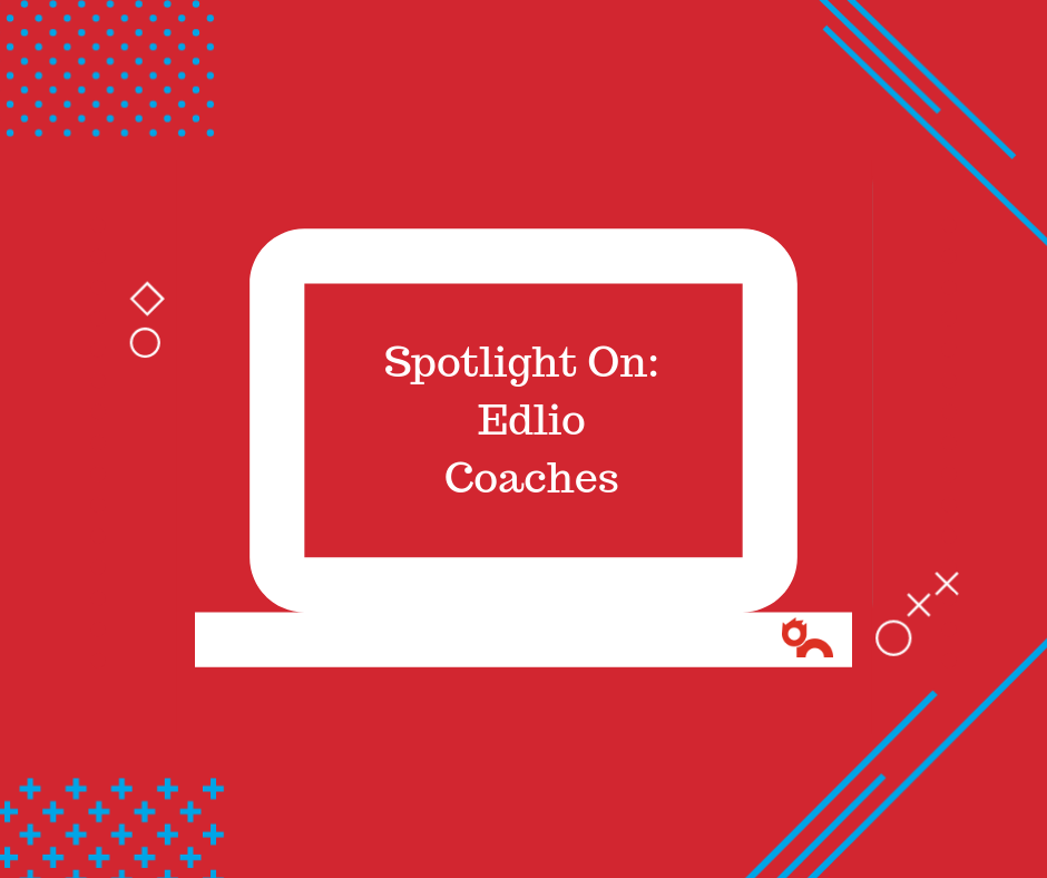Spotlight on Edlio Coaches displayed on illustrated computer screen with Edlio red background