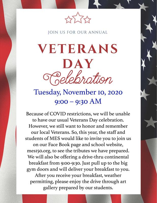 Veterans Day Celebration Tues. Nov. 10th       9-9:30am Featured Photo