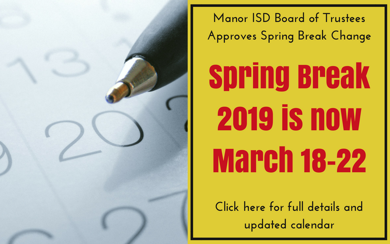Manor ISD Board of Trustees approves changing Spring Break in 2019 to March 18-22 Thumbnail Image