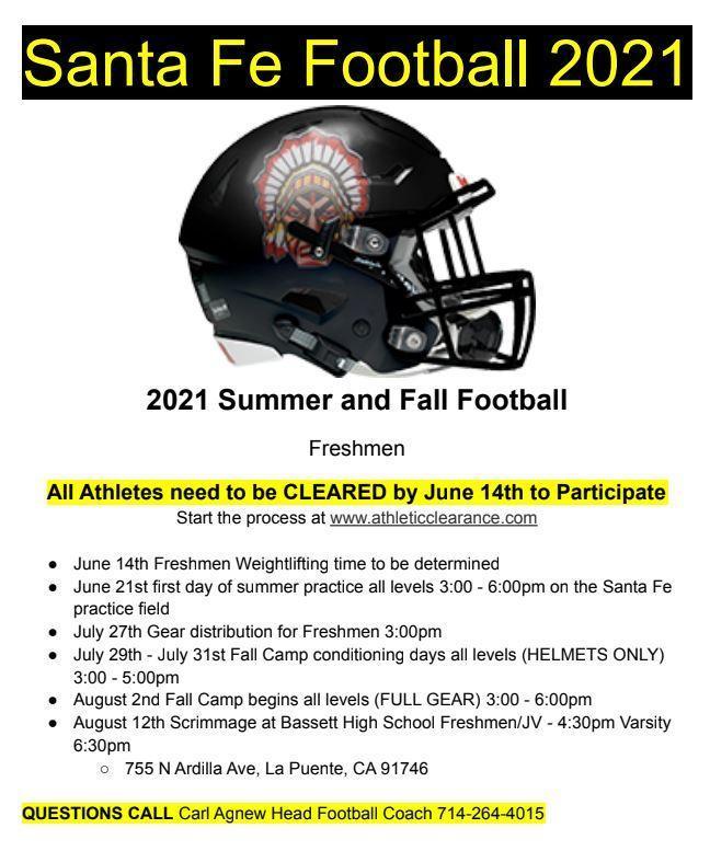 Summer 2021 Football Flyer