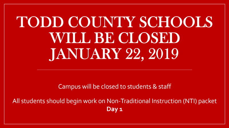 Todd County Schools Closed January 22, 2019 Featured Photo