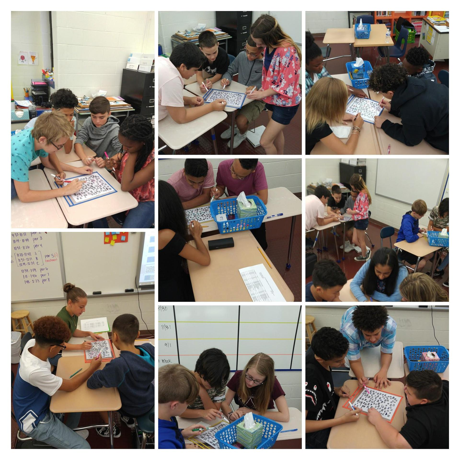Collage of photos showing students working in groups