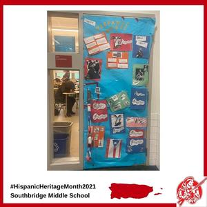 A classroom door decorated for Hispanic Heritage Month