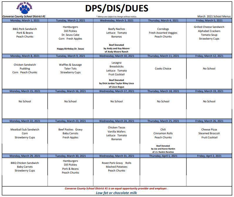 2021 March DPS DIS DUES Menu