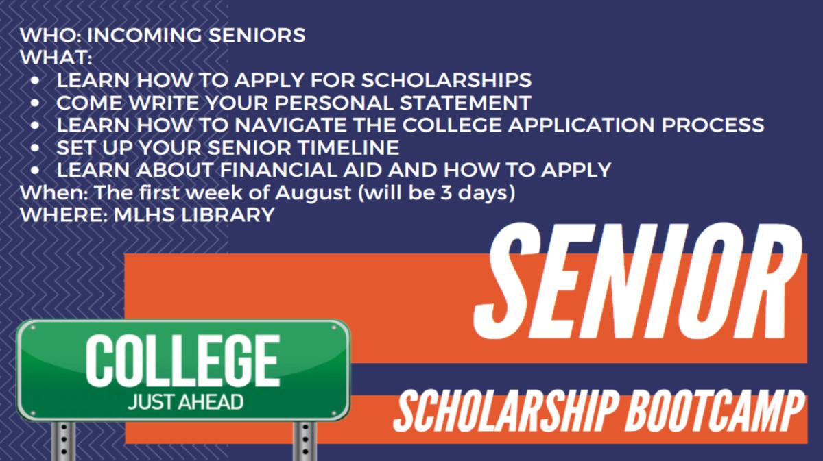 Senior Scholarship Bootcamp: first week of August