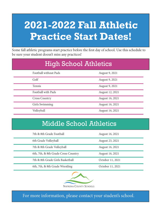 Fall Athletic Practice Start Dates 2021-2022