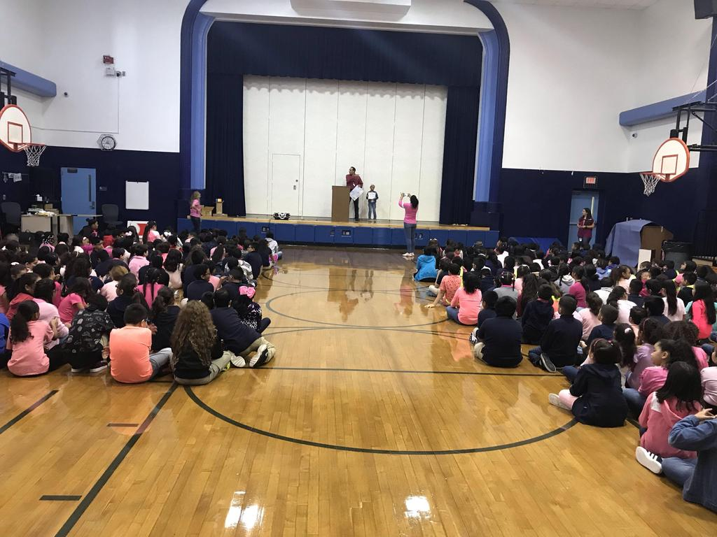 students wearing pink in the cancer awareness assembly