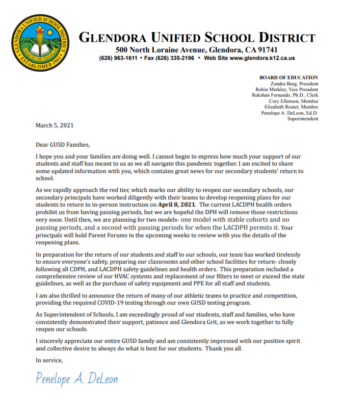 Superintendent DeLeon on April 8th instruction