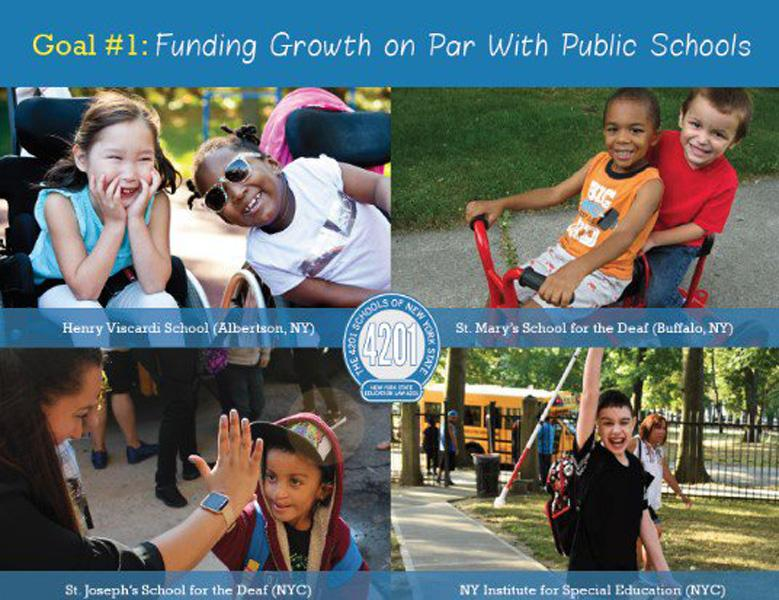 "One of the Association's goals is to ensure parity funding with the state's public schools. A direct increase in funding will support 4201 school operations and ensure that local school districts are not adversely impacted. Increased funds will also help expand resources and services to ensure these students are receiving an education from individuals that possess specialized training and experience.   ""Parity funding helps our schools retain our highly qualified teachers and staff,"" explained Dr. Bernadette Kappen, Chair of the 4201 Schools Association and Executive Director of the New York Institute for Special Education."