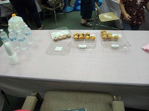 A table with muffins for