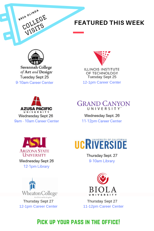 College Visits/Upcoming Events – College and Career